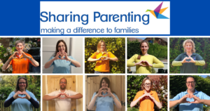 Sharing Parenting team heart shapes with their hands