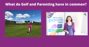 What do golf and parenting have in common - find out with Sharing Parenting, golfer on pitch and tutor teaching.